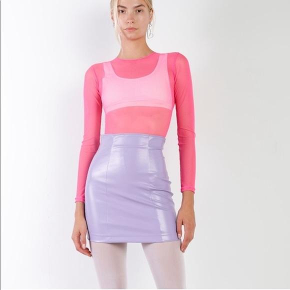 So 90s Lavender High Waist Faux Leather Mini Skirt